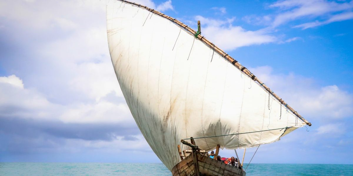 Marine and coastal ecosystems support the livelihoods and income of many Tanzanians. This traditional dhow is used to transport goods from Zanzibar to the mainland. Image: Romy Chevallier