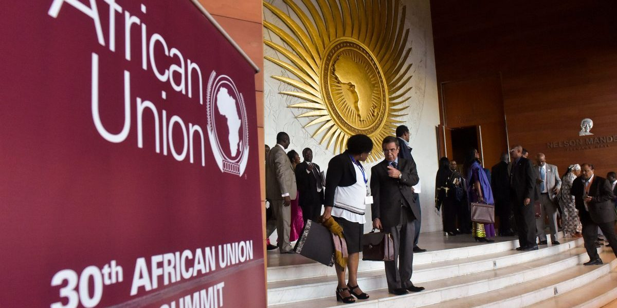 Delegates leave the plenary hall of the Africa Union (AU) headquarters, before the start of the 30th Ordinary Session of the Assembly of Heads of State and Government of the AU in Addis Ababa on January 27, 2018. Image: Getty, Simon Maina/AFP