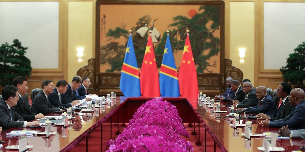 Chinese President Xi Jinping (2nd-L) meets with Bruno Tshibala Nzenze (2nd-R) the Prime Minister of the Democratic Republic of the Congo during a meeting at The Great Hall of People on September 6, 2018 in Beijing, China. Image: Getty, Lintao Zhang/Pool