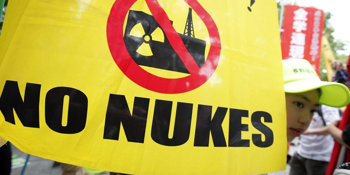 Hiroshima, Japan: People take part in an anti-nuclear power protest on the 66th anniversary of the  Hiroshima atomic bombing on August 6, 2011 in Hiroshima. Image: Getty, Kiyoshi Ota