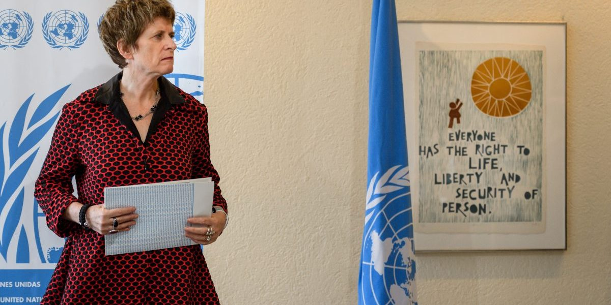 UN Deputy High Commissioner for Human Rights, Kate Gilmore, stands during a statment during the UN Human Rights Council session on March 13, 2018 in Geneva. Image: Getty, Fabrice Coffrini/AFP