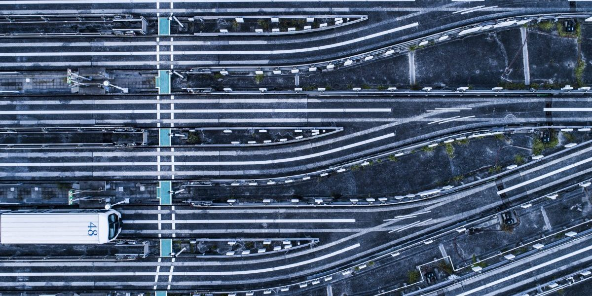 Aerial view of railroad tracks. Image: Getty, Michael H