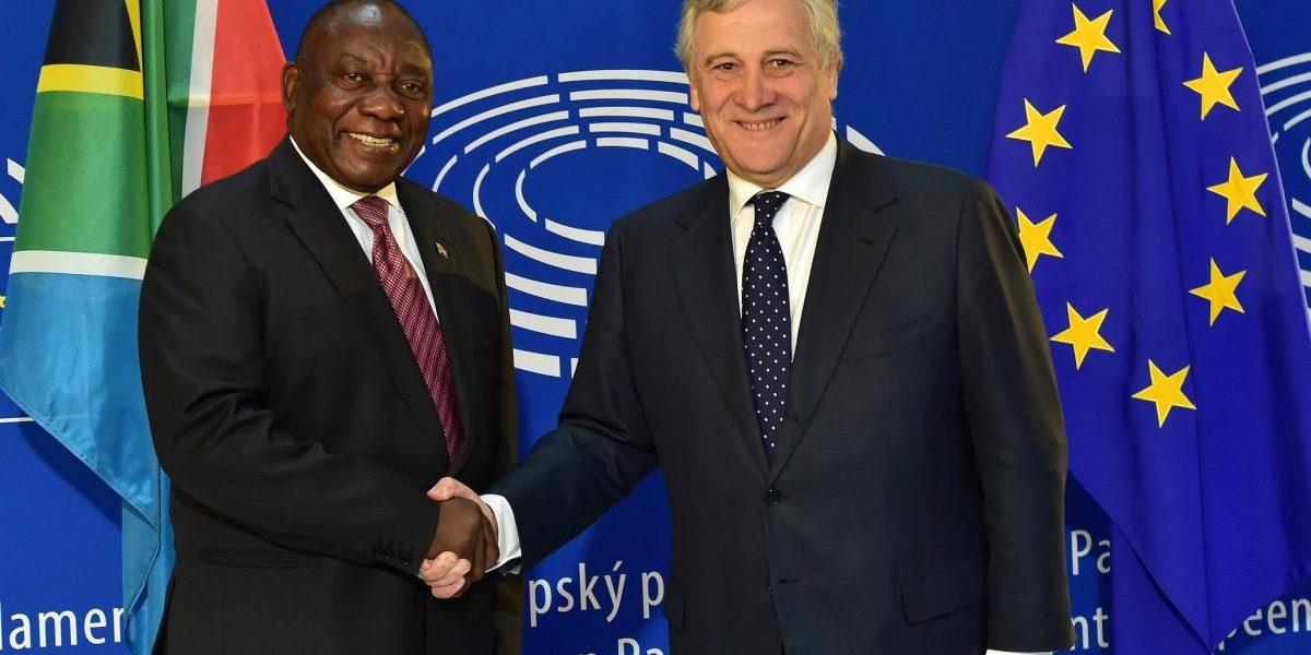 President Cyril Ramaphosa with President of the European Parliament Antonio Tajani. Image: Flickr, GovernmentZA