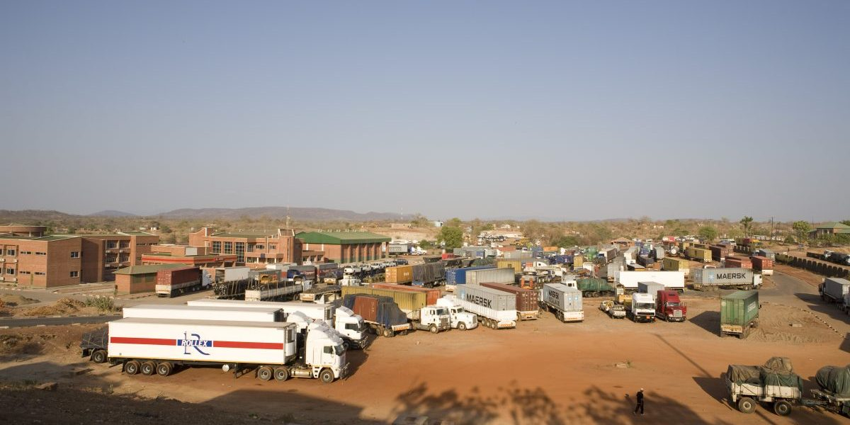 The customs yard near the border post in Chirundu on the border of Zambia and Zimbabwe is a transit point on the trucking route from South Africa. Image: Getty, Gideon Mendel/Corbis