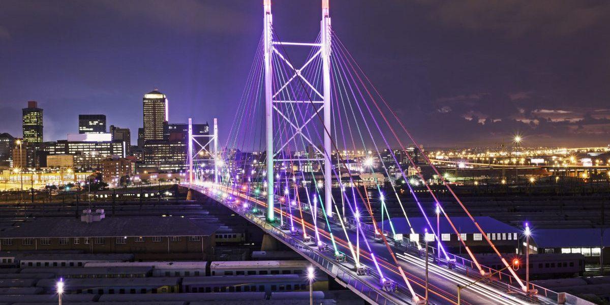 Nelson Mandela Bridge at sunset, Johannesburg, South Africa. Image: Getty, THEGIFT777