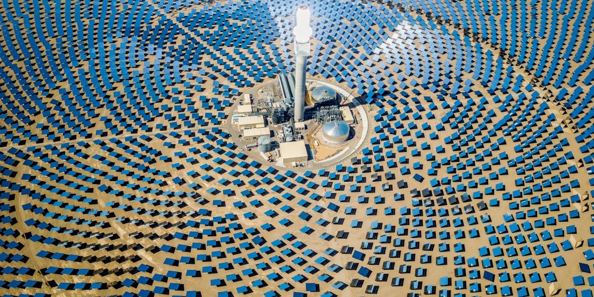 Drone aerial view of solar thermal power plant station in the desert in Nevada, USA. Image: Getty, Mlenny