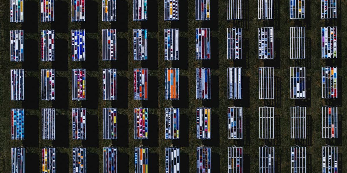 Solar panels with unusual patterns photographed by drone, Florida, USA. Image: Getty, Abstract Aerial Art
