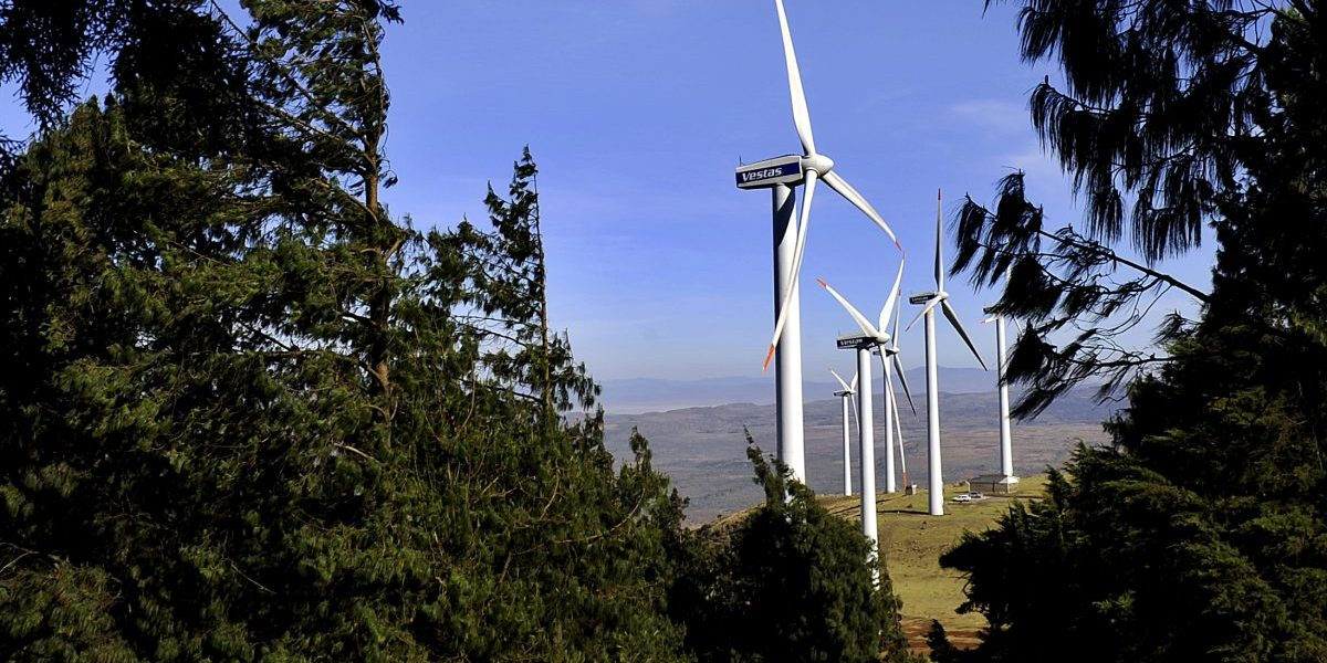 Kenya, 2010: Wind turbines in the Ngong hills, which are owned and run by Kenya's main power generating company KENGEN. Image: Getty, Tony Karumba/AFP