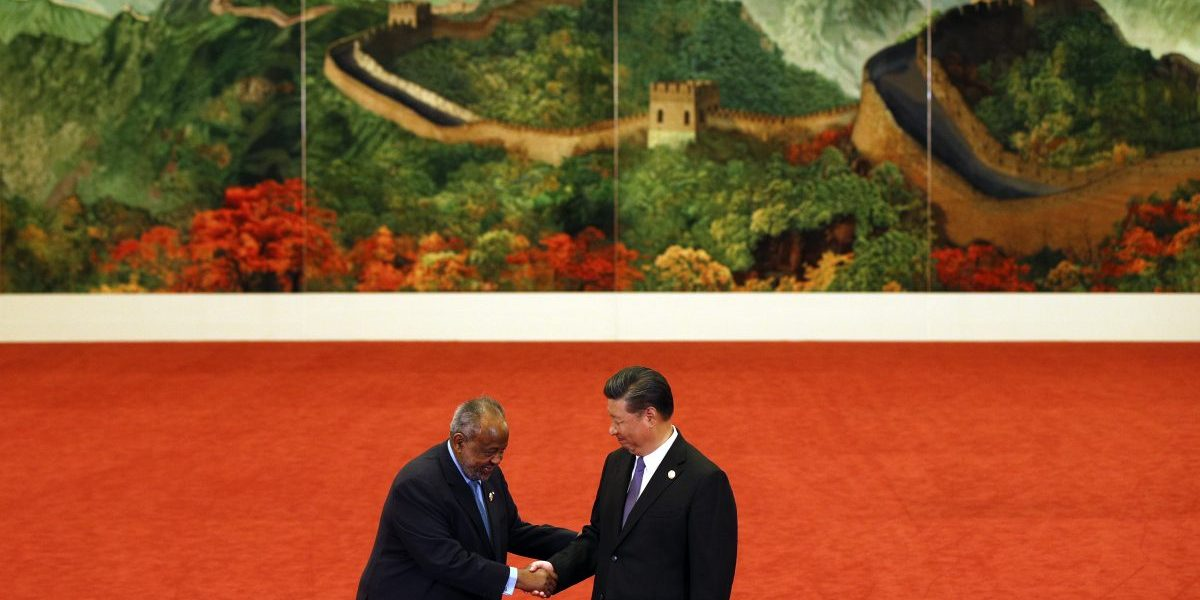 Djibouti's President Ismail Omar Guelleh, left, shakes hands with Chinese President Xi Jinping during the Forum on China-Africa Cooperation held at the Great Hall of the People on 3 September, 2018 in Beijing, China. Image: Getty, Andy Wong
