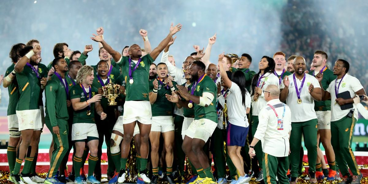 South Africa celebrate after their victory during the Rugby World Cup 2019 final between England and South Africa at International Stadium Yokohama on November 02, 2019. Image: Getty, David Rogers