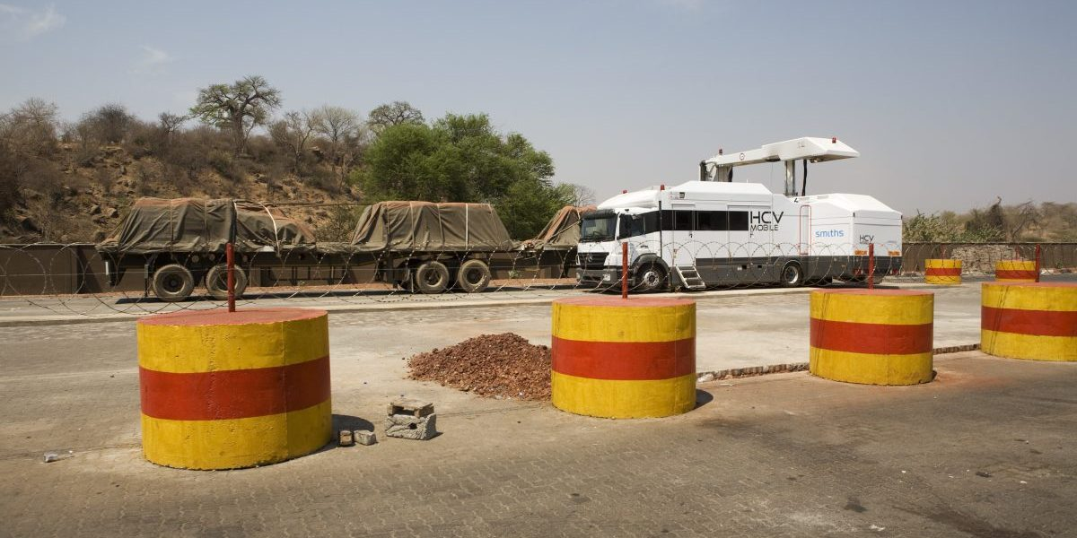 A state of the art scanner is used to inspect the contents of a truck at the new customs building in Chirundu on the border of Zambia and Zimbabwe. Image: Getty, Gideon Mendel/Corbis