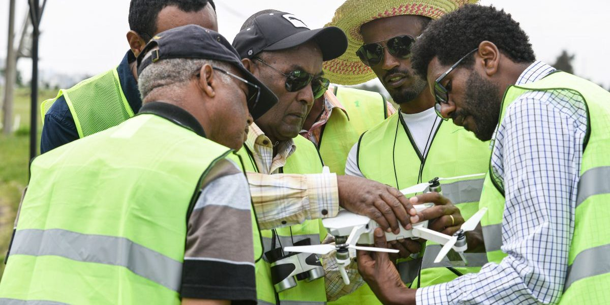 Participants take part in the first drone flight training by the World Food Programme (WFP) for humanitarian and development work in Addis Ababa. Image: Getty, Michael Tewelde/AFP