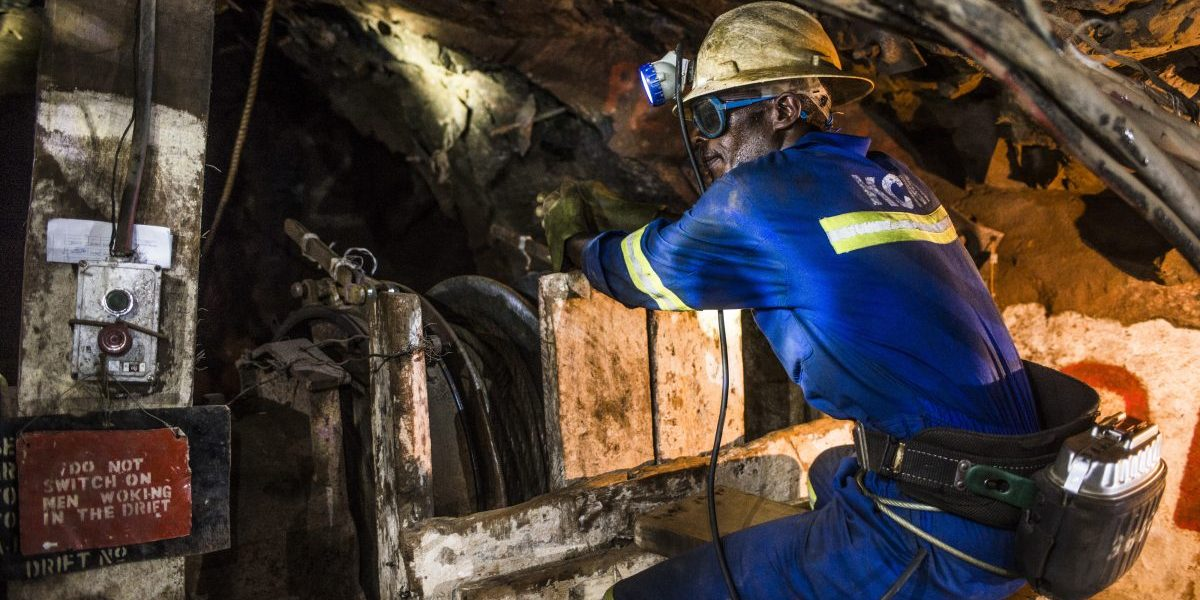 A miner uses a machine to excavate copper ore in an underground tunnel at the 296 meter level at the Nchanga copper mine, operated by Konkola Copper Mines Plc, in Chingola, Zambia. Image: Getty, Waldo Swiegers/Bloomberg