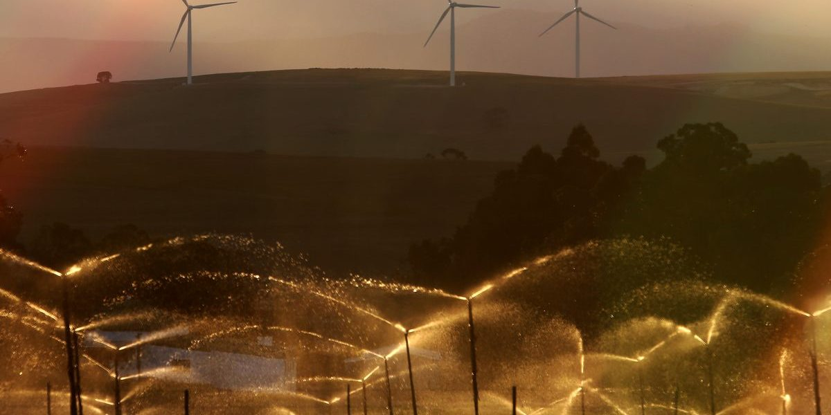 Wind turbines seen at the Dassiesklip Wind Energy Facility Project outside Caledon on February 9, 2014 in Cape Town, South Africa. Image: Getty, Nardus Engelbrecht/Gallo Images