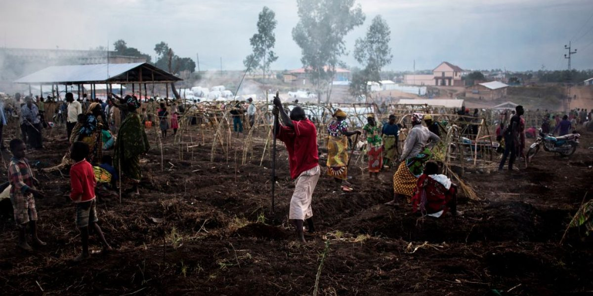 Internally displaced Congolese construct make shift shelters in a camp in Bunia. Image: Getty, John Wessels/AFP
