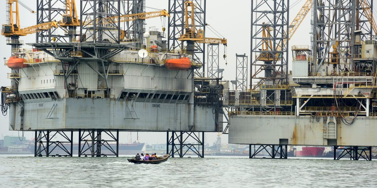 An oil platform in Lagos Port Complex (port of Lagos), 2016, Lagos, Nigeria. Image: Getty, Frédéric Soltan/Corbis