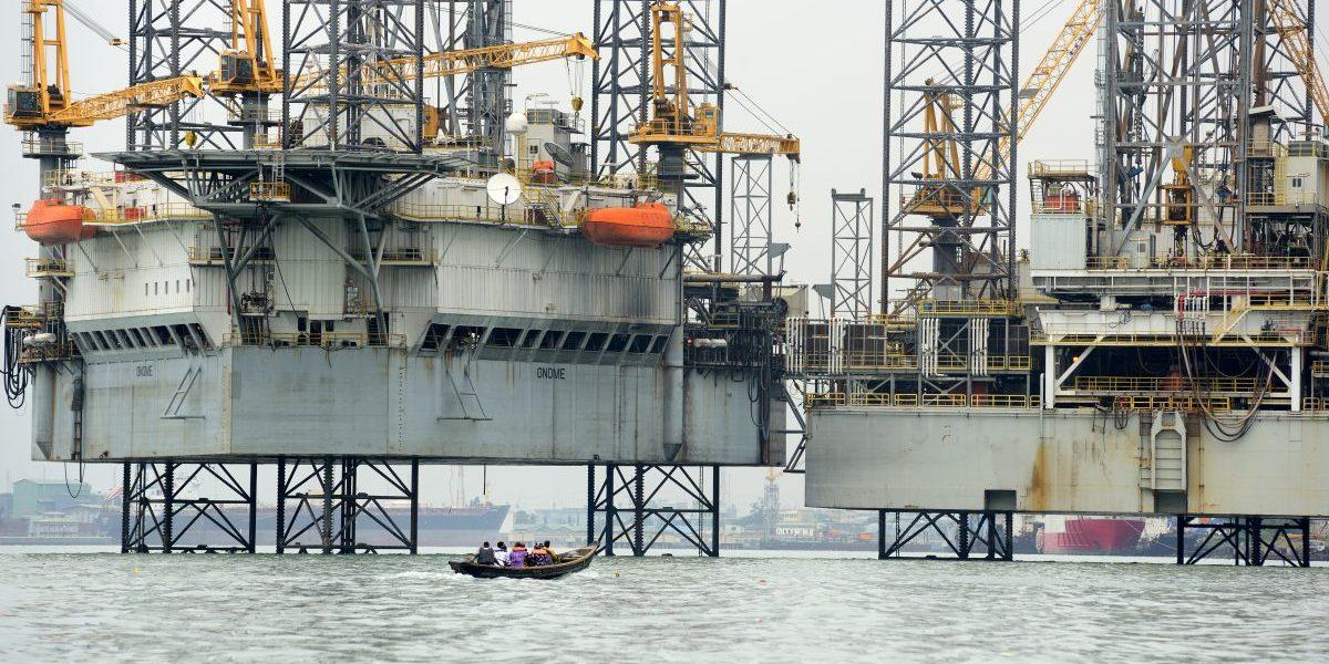 An oil platform in Lagos Port Complex (port of Lagos), 2016, Lagos, Nigeria. Image: Getty, Frédéric Soltan/Corbis