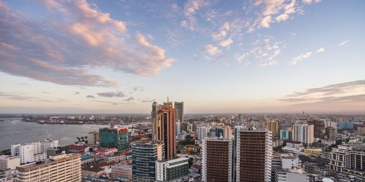 Dar es Salaam business district cityscape aerial view. Image: Getty, Wilpunt