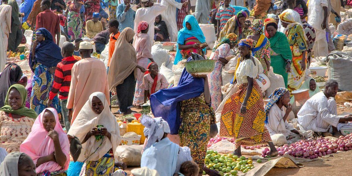 Abubakar Market, Borno State, Nigeria. Local market scene, 2009. Image: Getty, Irene Becker