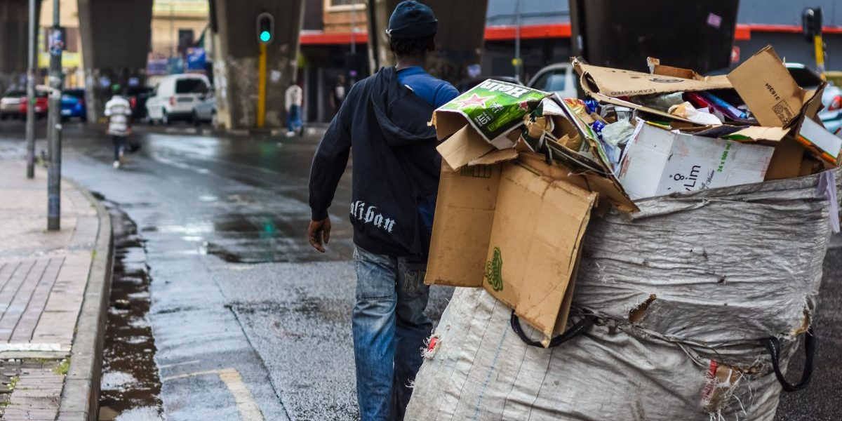 Waste 'reclaimers' earn a living by collecting recyclables, sorting them and selling on to the recycling plants in Johannesburg, South Africa. Image: iStock, Vladan Radulovic (RSA)