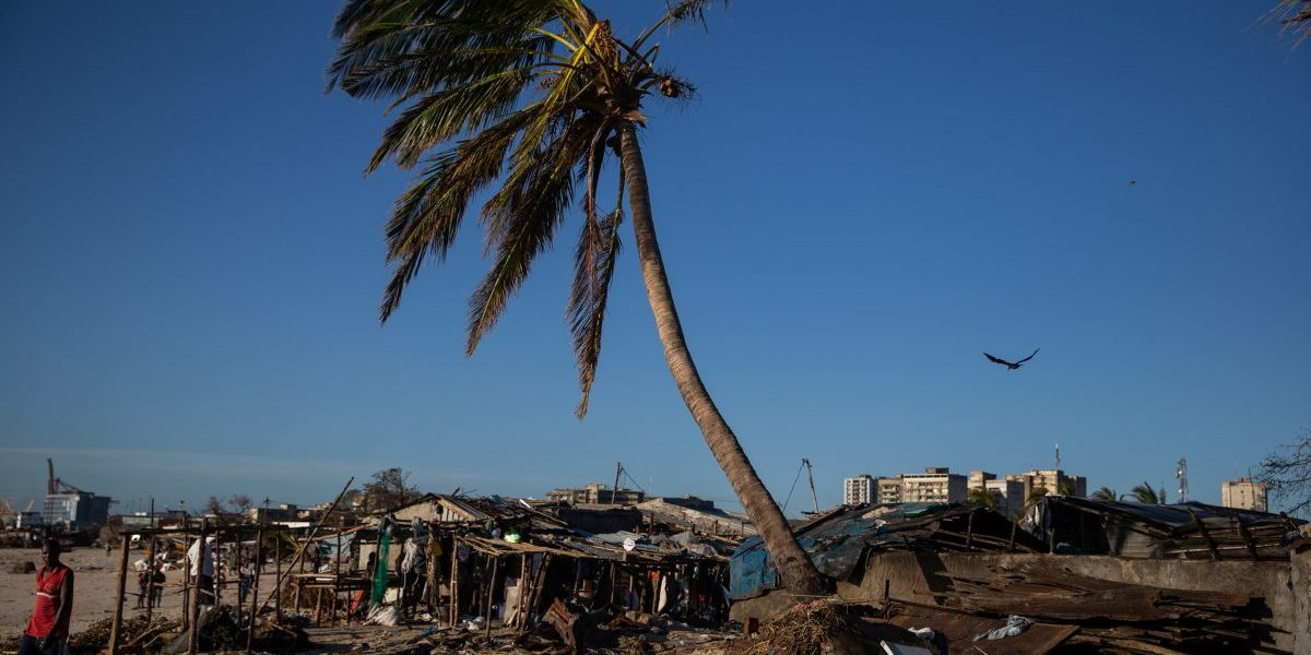 The Praia Move area, Beira, Mozambique on March 24, 2019 after Cyclone Idai smashed into Mozambique's coast unleashing hurricane-force wind and rain that flooded swathes of the  country. Image: Getty, Wikus de Wet/AFP