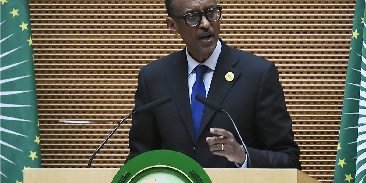 Then AU Chair and President of Rwanda Paul Kagame delivers a speech during the 11th Extraordinary Session of the Assembly of the AU in Addis Ababa, Ethiopia, 17 November 2018. Image: Getty, Monirul Bhuiyan/AFP