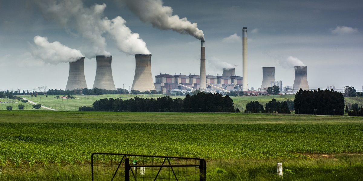 Emissions rise from the cooling towers of the Eskom Holdings SOC Ltd. Matla coal-fired power station in Mpumalanga, South Africa, December 2019. Image: Getty, Waldo Swiegers/Bloomberg