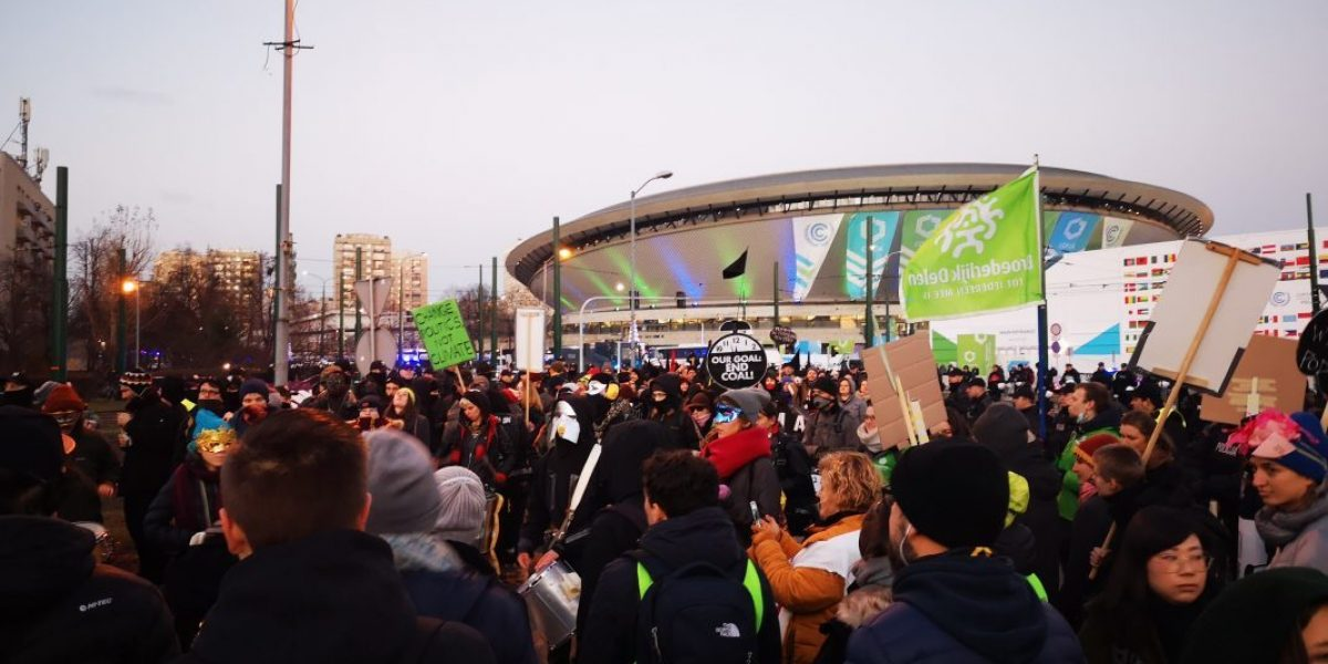 Protesters outside the COP 24 Summit in Katowice, Poland, December 2018. Image: Romy Chevallier