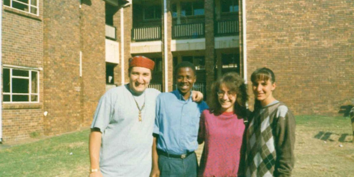 Our Chief Executive Elizabeth Sidiropoulos with friends at a voting station in Soweto, 27 April 1994.