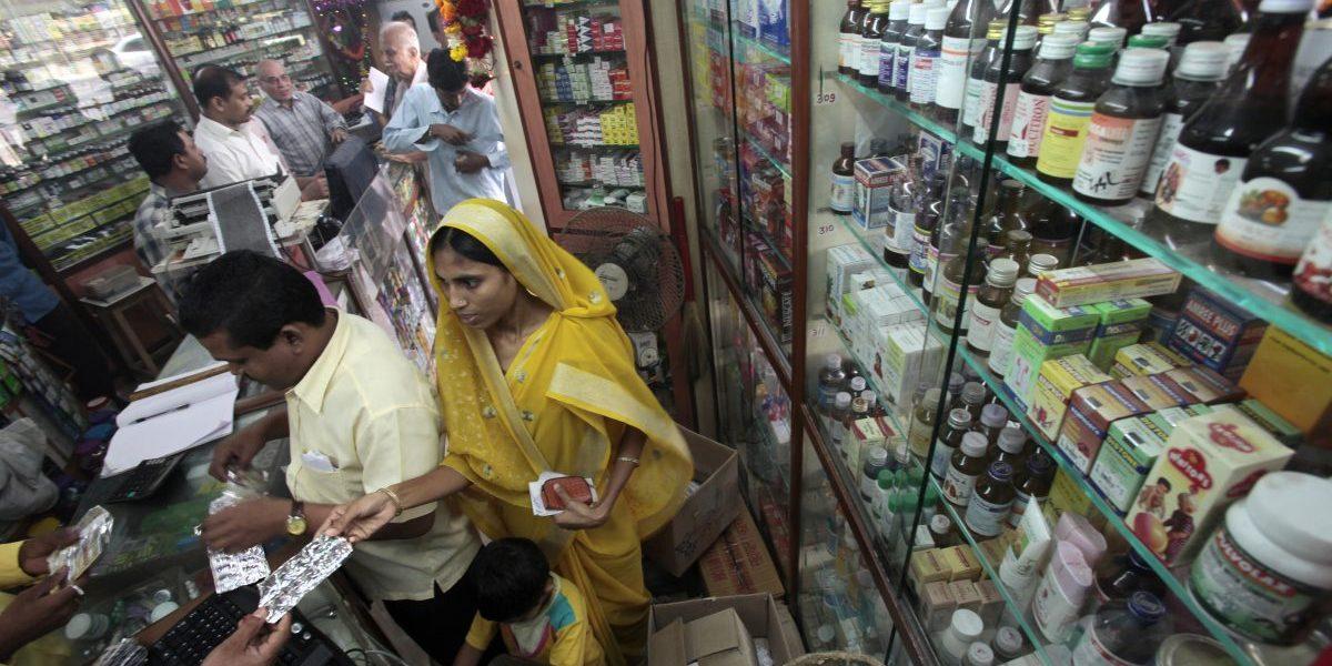 Customers buy medicine at a pharmacy in a middle class neighborhood February 26, 2010 in Mumbai, India. Image: Getty, Kuni Takahashi